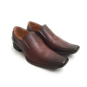 Steve Madden Brown Leather Slip On Loafers Size 10
